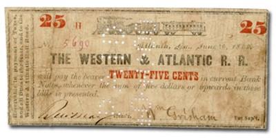1862 Western & Atlantic Rail Road of Atlanta, GA $0.50 Note Aug 1