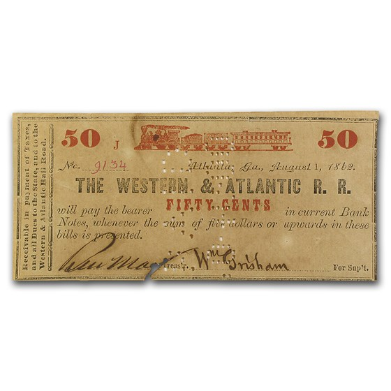 1862 Western & Atlantic RR of Atlanta, GA 25 Cents XF