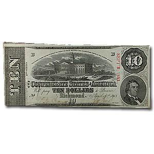 1863 $10 (T-59) Capitol @ Columbia, SC AU (Cancelled)