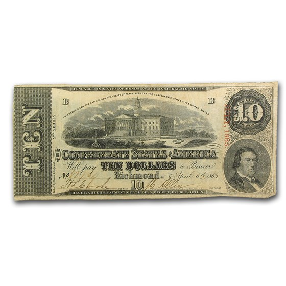1863 $10 (T-59) Capitol @ Columbia, SC VF