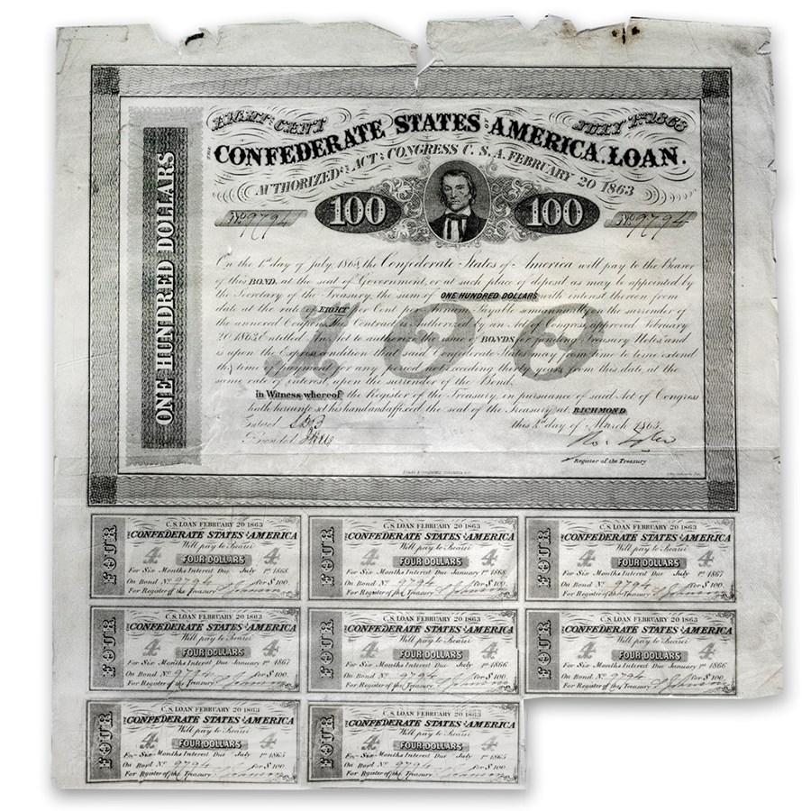 1863 $100 CSA Bond 8% A.H. Stephens VF