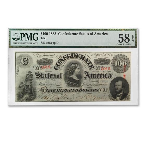 1863 $100 (T-56) Lucy Pickens AU-58 PMG EPQ
