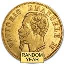 1863-1865 Italy Gold 10 Lire Vittorio Emanuele II Avg Circ