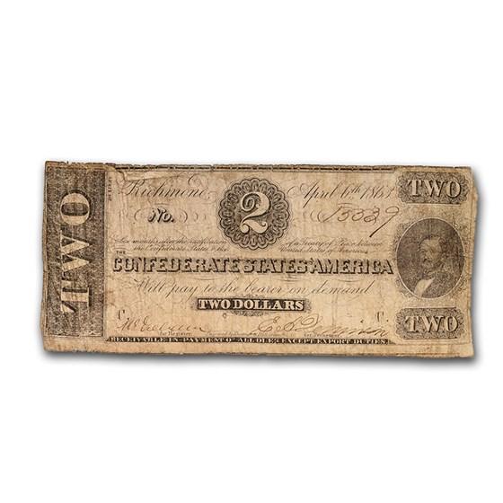 1863 $2.00 (T-61) Judah Benjamin VG