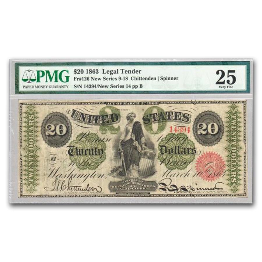 1863 $20 Legal Tender VF-25 PMG (Fr#126)