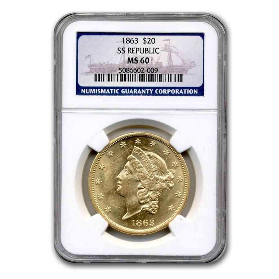 1863 $20 Liberty Gold Double Eagle MS-60 NGC