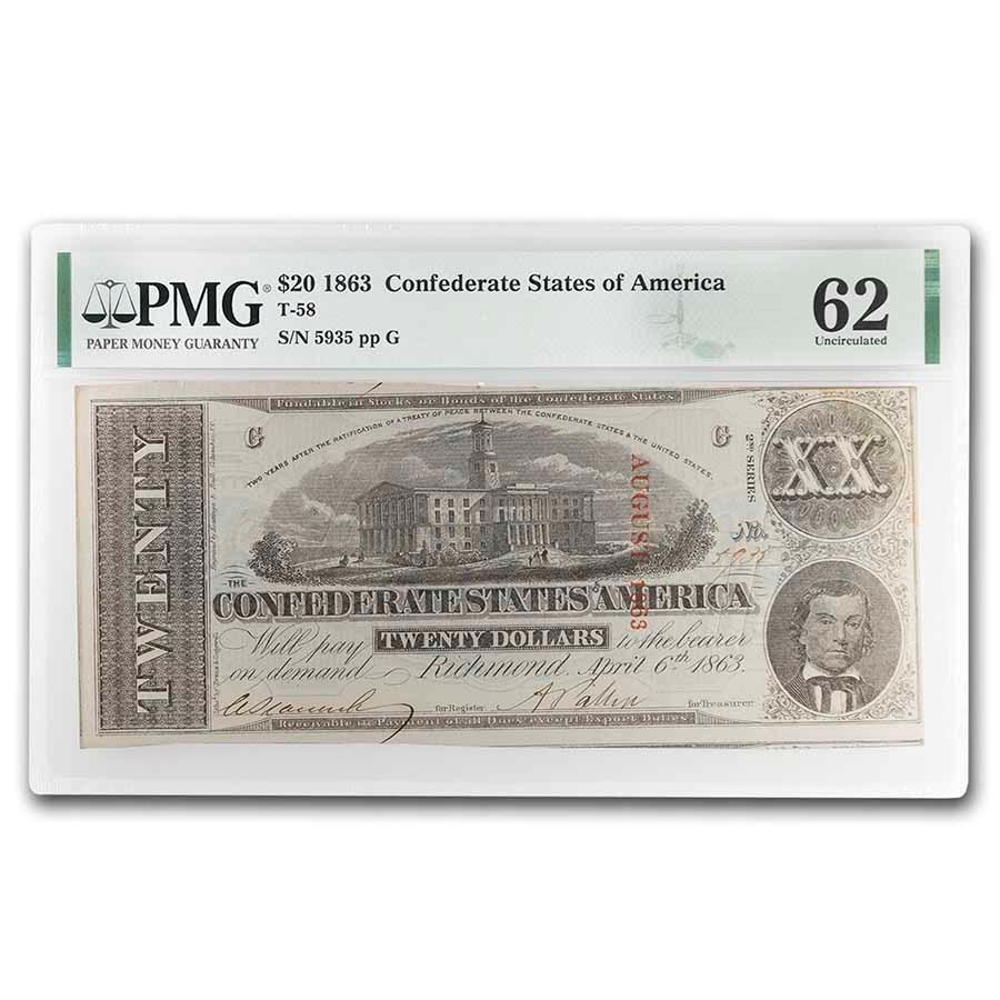 1863 $20 (T-58) Capitol @ Nashville, TN CU-62 PMG Cancelled, Dtls