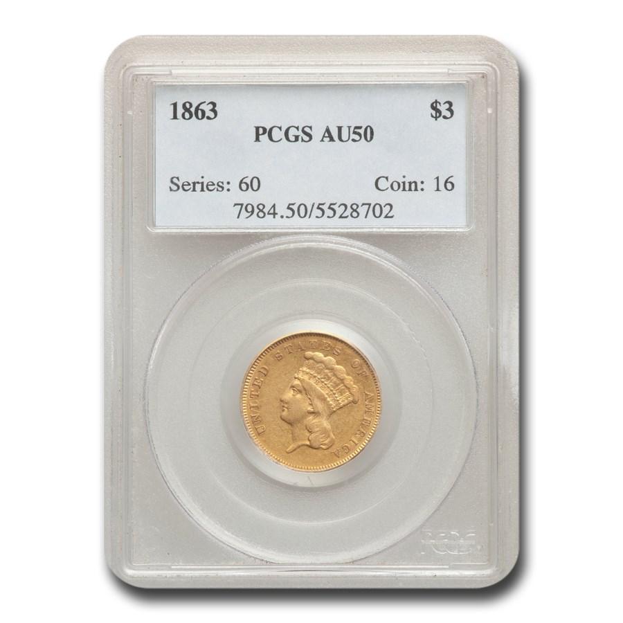 1863 $3 Gold Princess AU-50 PCGS