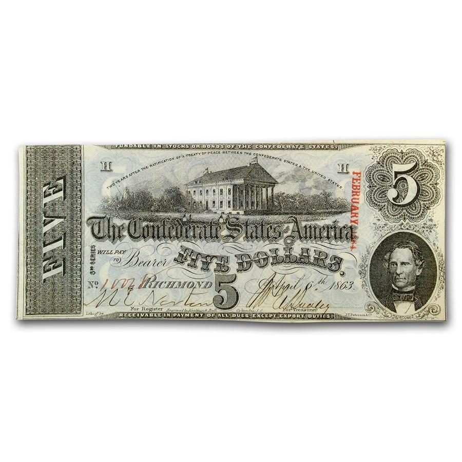 1863 $5.00 (T-60) Capitol @ Richmond, VA AU