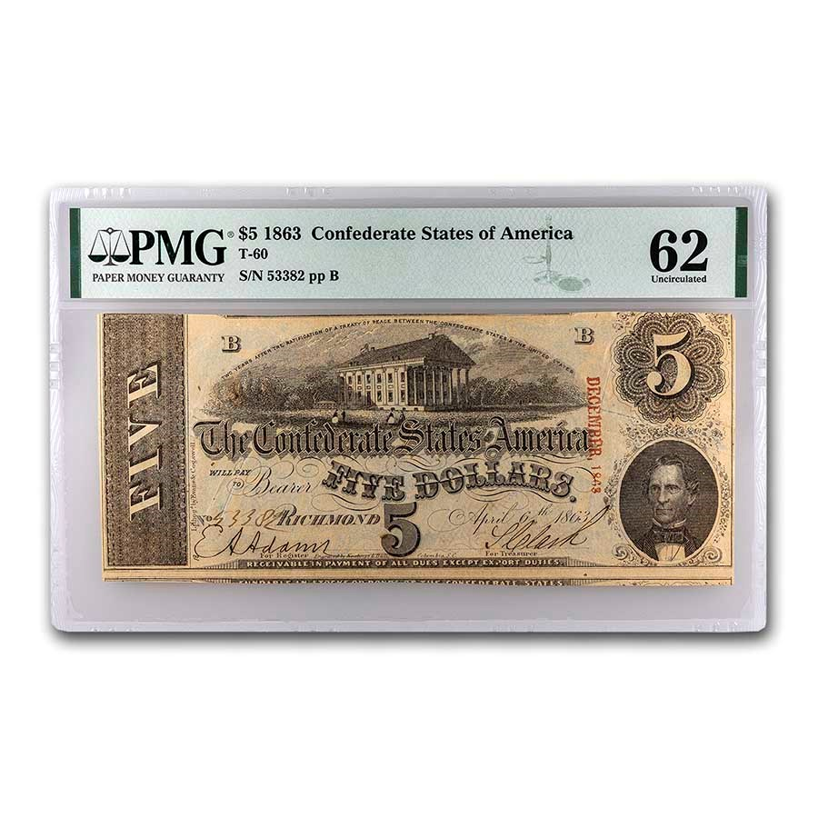 1863 $5.00 (T-60) Capitol @ Richmond, VA CU-62 PMG (Cancelled)