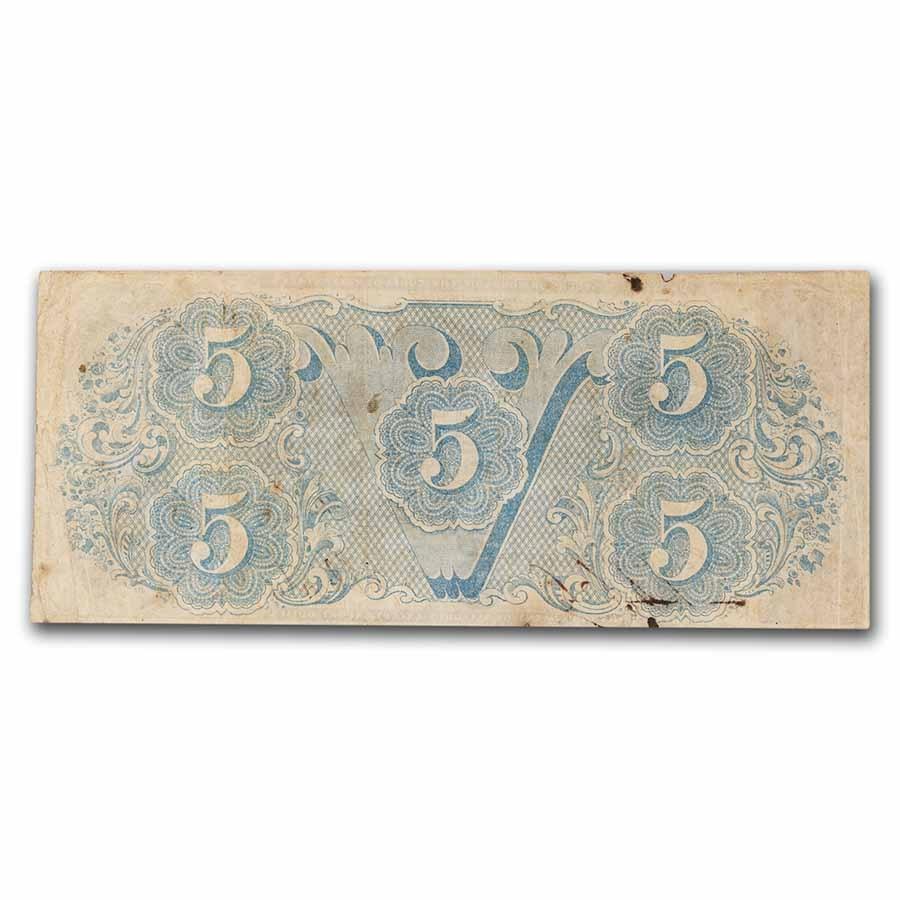 1863 $5.00 (T-60) Capitol @ Richmond, VA Fine