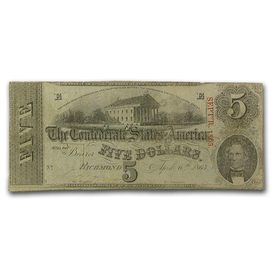 1863 $5.00 (T-60) Capitol @ Richmond, VA VF (Cancelled)