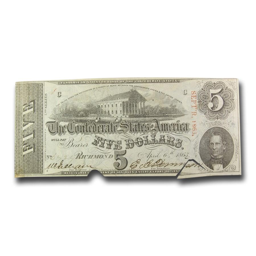 1863 $5.00 (T-60) Capitol @ Richmond, VA XF (Cancelled)