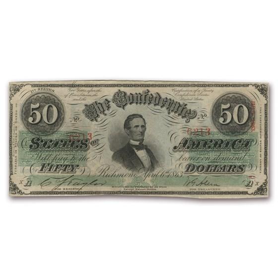 1863 $50 (T-57) Jefferson Davis CU