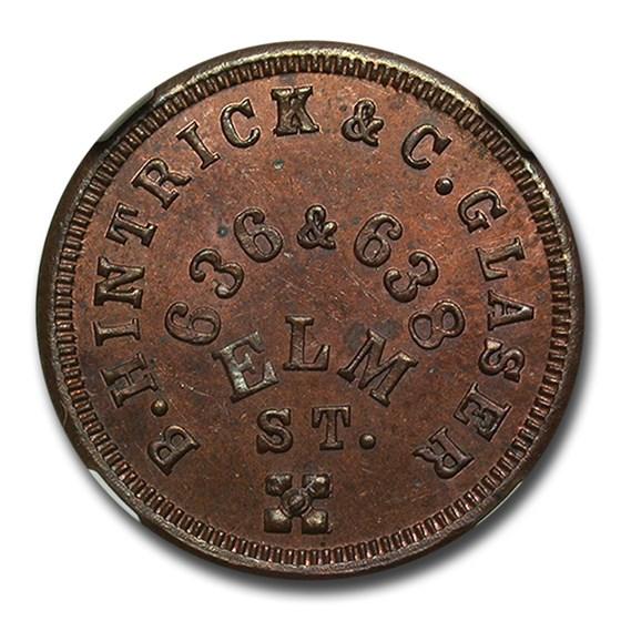 1863 B. Hintrick & C. Glaser Civil War Token MS-64 NGC (RB F-165)