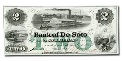 1863 Bank of DeSoto, Nebraska $2.00 NE-25 CCU