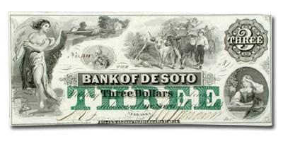1863 Bank of DeSoto, Nebraska $3.00 NE-25 CCU