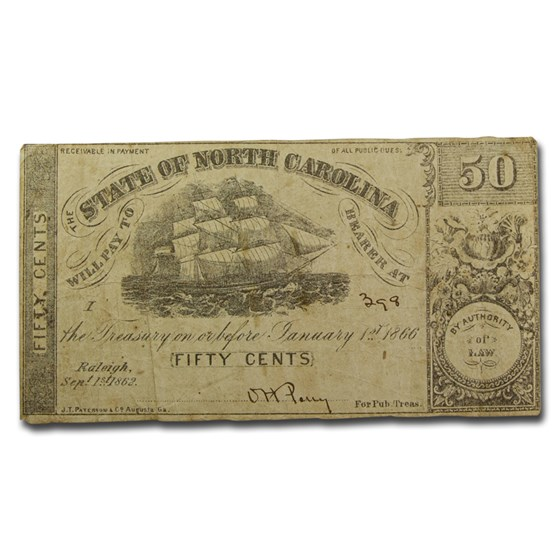 1863 Bank of the State of North Carolina 50 Cents CR-149 VF