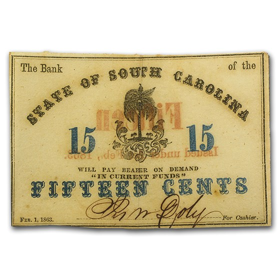 1863 Bank of the State of South Carolina 15 Cents SC-45 Fine