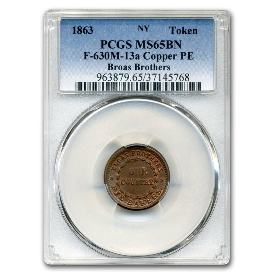1863 Broas Brothers Token MS-65 PCGS (Brown)