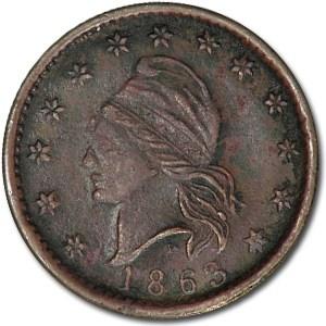 1863 Civil War Token Patriotic 16/300 BU Details