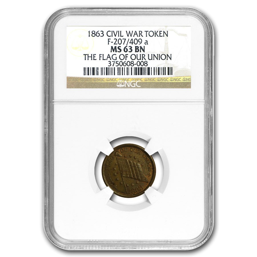 1863 Civil War Token Patriotic 207/409a MS-63 NGC (Brown)