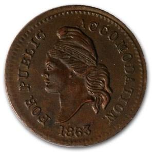 1863 Civil War Token Patriotic 37/256 Unc Details