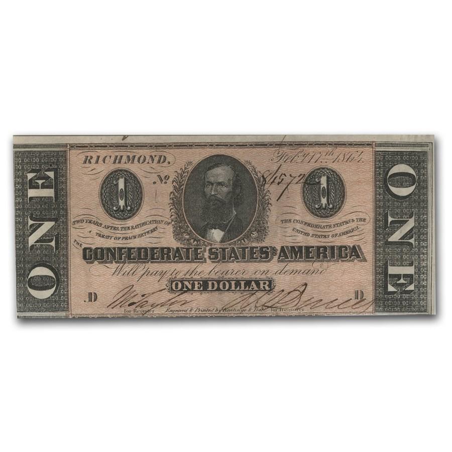 1863 CSA $1 (T-62) Clement C. Clay AU