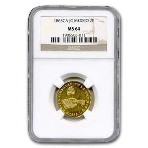 1863 Ga-JG Mexico Gold 2 Escudos MS-63 NGC