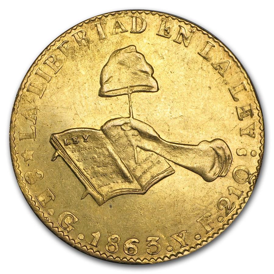 1863 Go YF Mexico First Republic Gold 8 Escudos AU