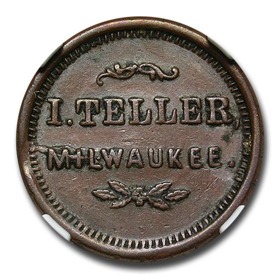 1863 I. Teller Civil War Token AU-50 NGC (F-510AO-2a)