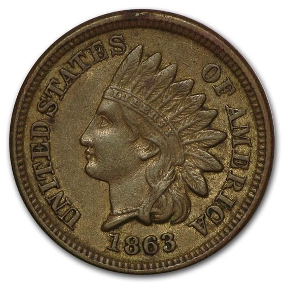 1863 Indian Head Cent AU