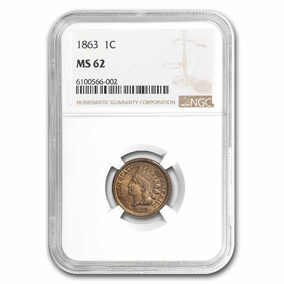 1863 Indian Head Cent MS-62 NGC