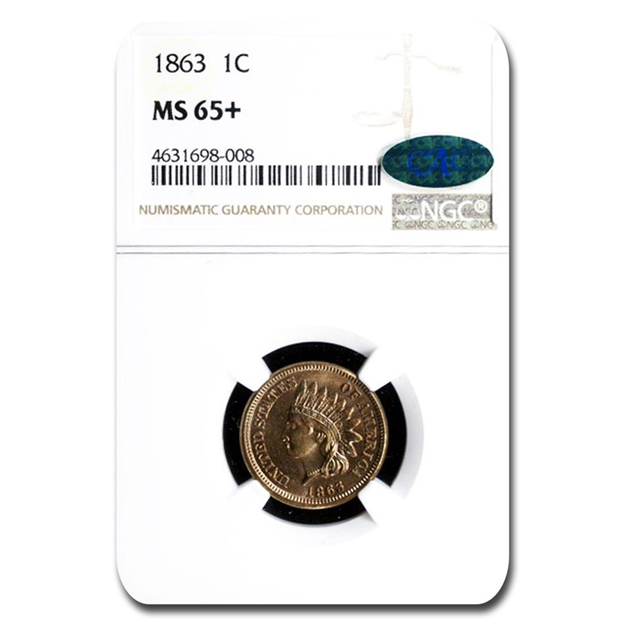 1863 Indian Head Cent MS-65+ NGC CAC