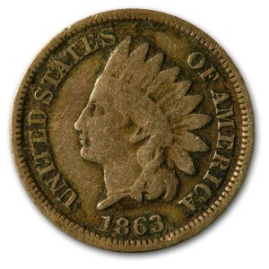 1863 Indian Head Cent VG