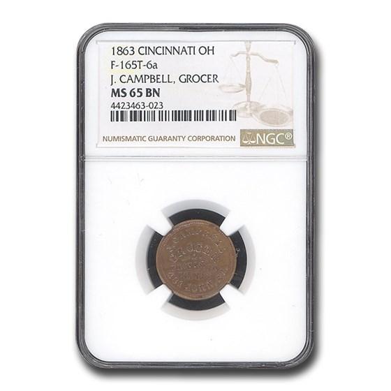 1863 J. Campbell, Grocer Civil War Token MS-65 NGC (BN F-165t-6a)