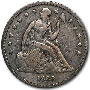 1863 Liberty Seated Dollar Fine Details (Cleaned)