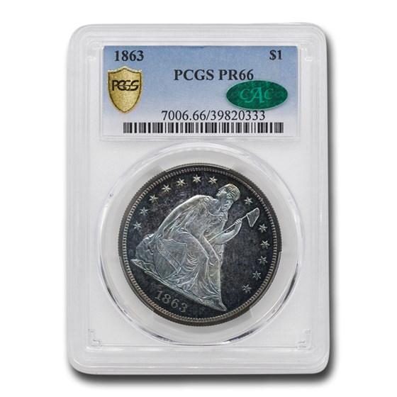 1863 Liberty Seated Dollar PR-66 PCGS CAC