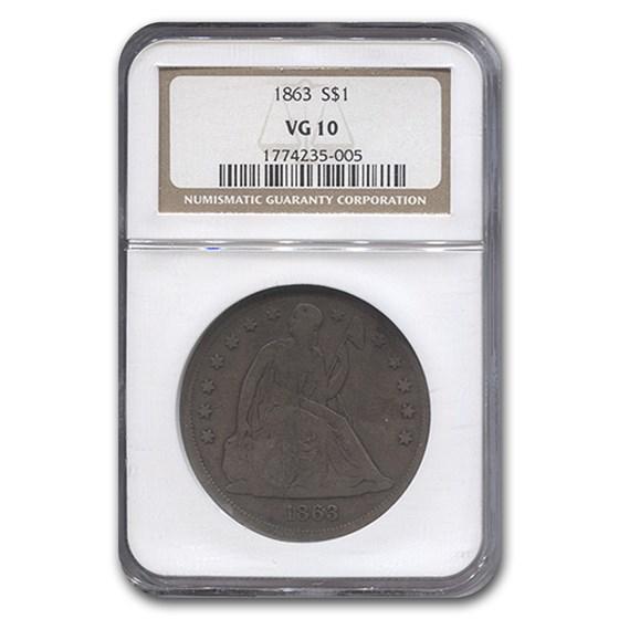 1863 Liberty Seated Dollar VG-10 NGC