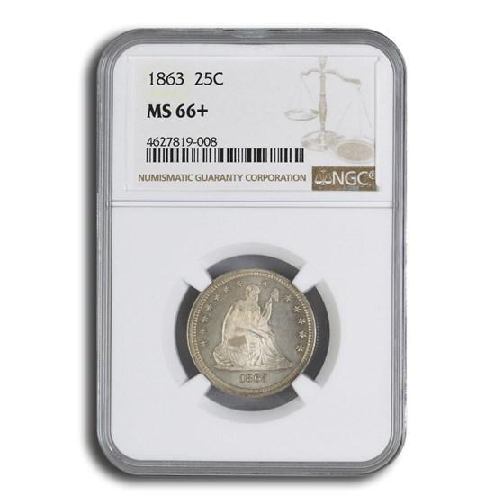 1863 Liberty Seated Quarter MS-66+ NGC