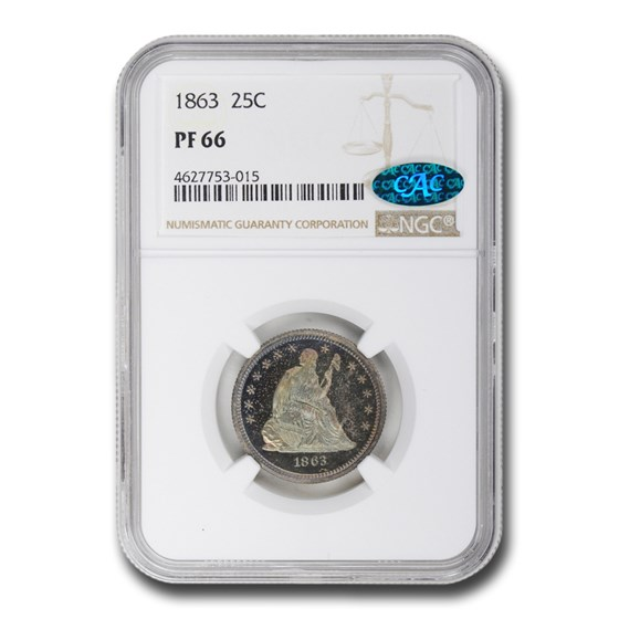 1863 Liberty Seated Quarter PF-66 NGC CAC