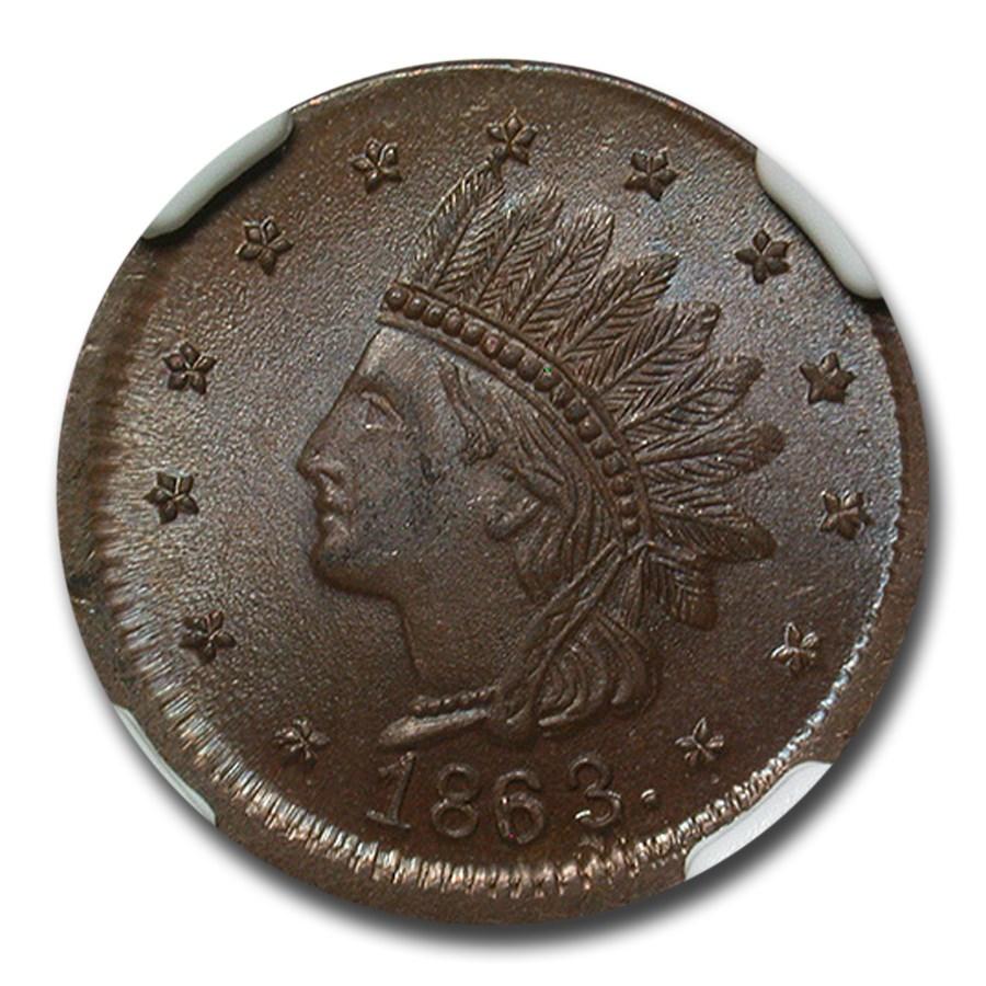 1863 Not One Cent Civil War Token MS-65 NGC (Brown)