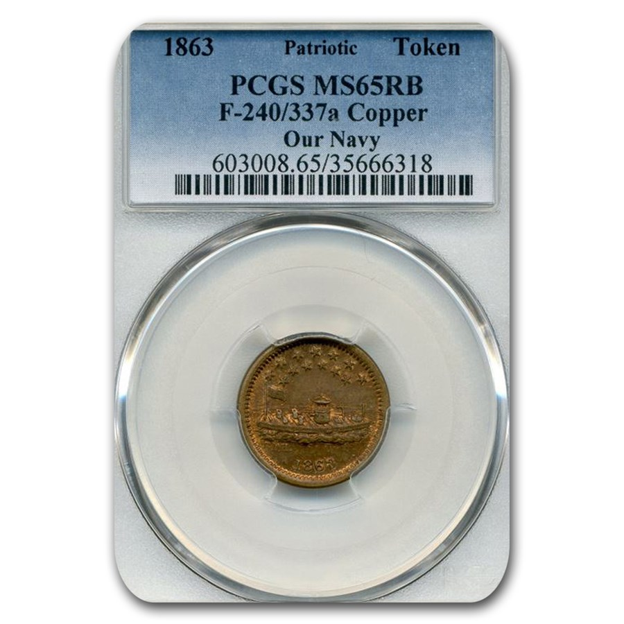 1863 Patriotic Token - Our Navy MS-65 PCGS (Red/Brown)