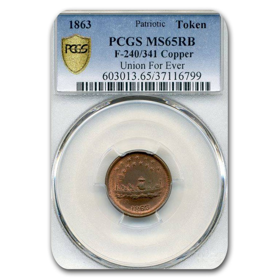 1863 Patriotic Token - Union For Ever MS-65 PCGS (Red/Brown)
