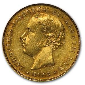 1863 Portugal Gold 5000 Reis King Luiz I AU