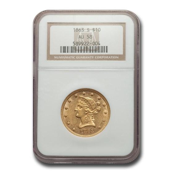 1863-S $10 Liberty Gold Eagle AU-58 NGC