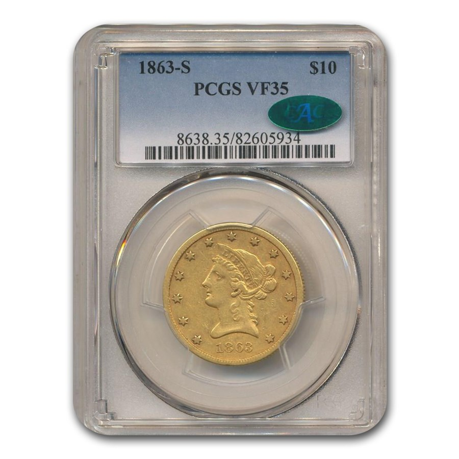 1863-S $10 Liberty Gold Eagle VF-35 PCGS CAC