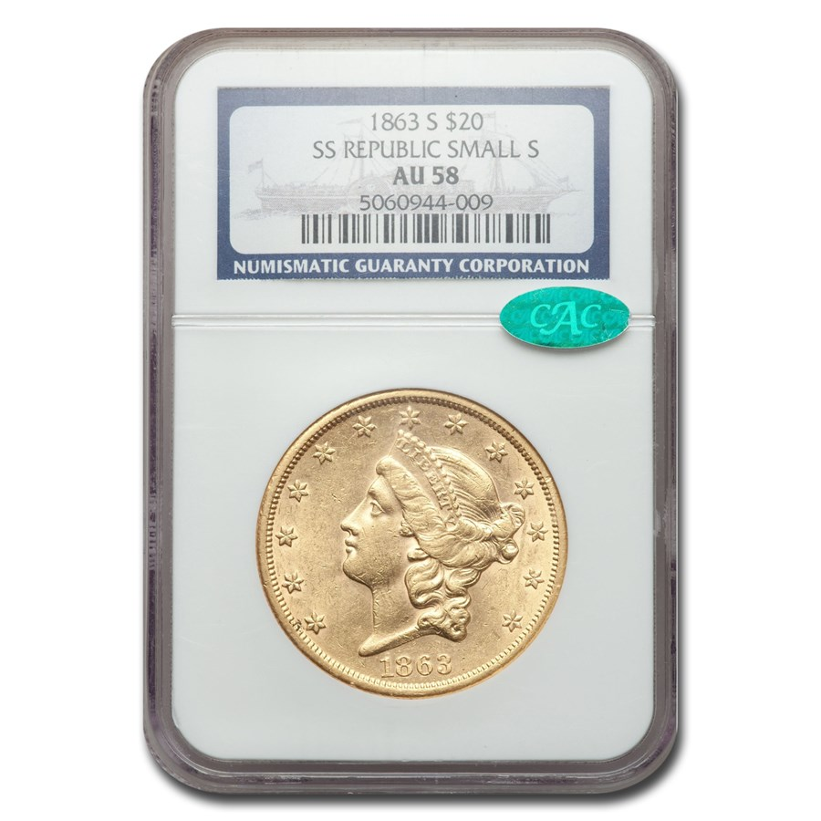 1863-S $20 Liberty Gold Double Eagle AU-58 NGC CAC (SS Rep Sm. S)