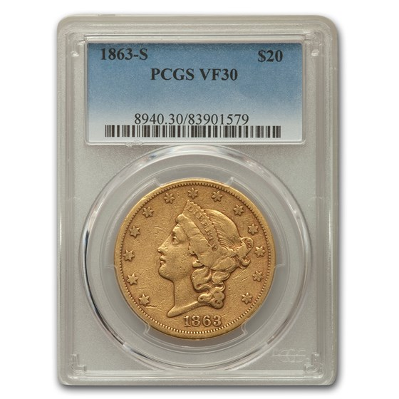 1863-S $20 Liberty Gold Double Eagle VF-30 PCGS