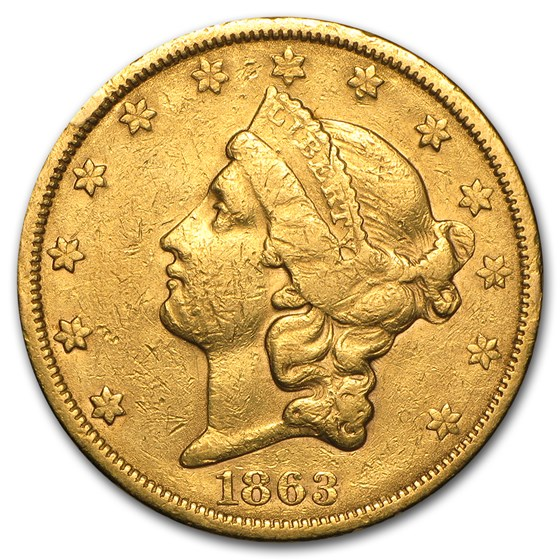 1863-S $20 Liberty Gold Double Eagle VF Details (Cleaned)